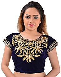 7b772efd87 Youth Mantra Embroidered Mirror Work Blue Velvet Blouse(Unstitched)