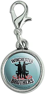 GRAPHICS & MORE Supernatural Winchester Brothers Antiqued Bracelet Pendant Zipper Pull Charm with Lobster Clasp