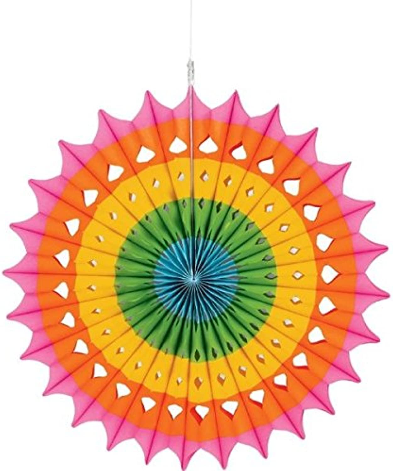 Amscan 290460.90 Hanging Fan Decoration, Party Supplies, Multi, 16 inches