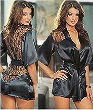 Tradico® hot Lingerie Satin Lace Black Kimono Intimate Sleepwear Robe Night Gown Sex Products 5 Color s m l XL XXL Black XXL