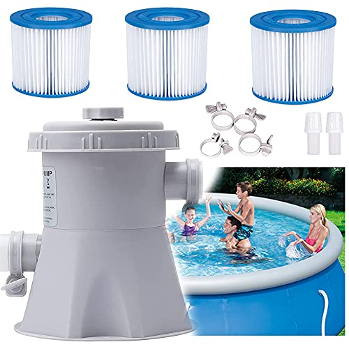 DFSETOGO Pool Filter Pumps Above Ground - Clear Cartridge Filter Pump for 300 Gallons 110-120V GFCI Backyard Pools Filter Pump, Swimming Pool Filter for Household Inflatable Pool (Pump + 3 Filters)
