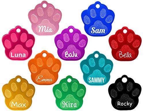 Hundemarke Pfote mit beidseitiger Gravur (Text+Motiv), verschiedene Farben inkl. 2 gratis Schlüsselringe