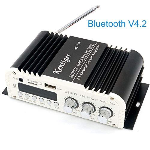 FisherMo - Mini Amplificador Bluetooth subwoofer, 2.1 Canales Super Bass Clase AB Digital Potente Amplificador Hi-Fi estéreo música FM Radio Receptor para PC móvil TV
