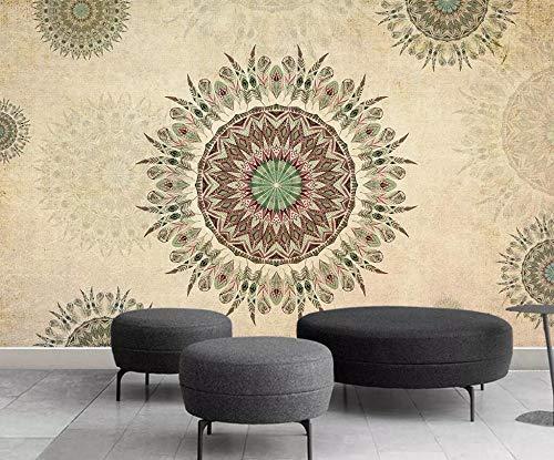 DZBHSCL 4D behang wandschilderingen, creatief in Indiase stijl mandala kunstdruk maat fotobehang voor thuis woonkamer bank tv achtergrond veranda slaapkamer wanddecoratie poster 120in×200in 300cm(H)×500cm(W)