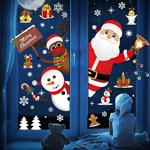 UMIPUBO Christmas Window Clings Window Wall Stickers Cute Santa Claus Reindeer Static PVC Stickers for Christmas Home/Shop/Party Window Decorations (2 X 30 * 90 cm)