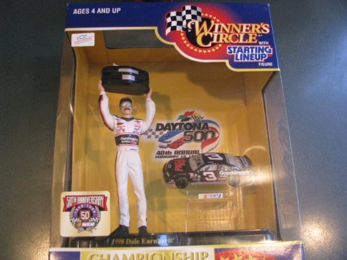 Dale Earnhardt Sr #3 GM Goodwrench Daytona Win February 1998 Hasbro 4 Inch Tall Action Figure With 1998 Daytona Trophy and 1/64 Scale Diecast Car Winners Circle Hard To Find