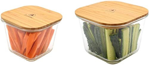 new arrival Laguiole 2 outlet sale pieces Set Square wholesale deep Glass containers w/bamboo lid outlet online sale