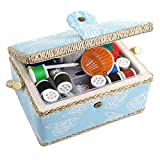SewKit | Large Sewing Basket Organizer with Complete Sewing Kit Accessories Included | Wooden Sewing Basket Kit with Removable Tray and Tomato Pincushion for Sewing Mending | Light Blue | 220.21 computerized sewing machines Mar, 2021