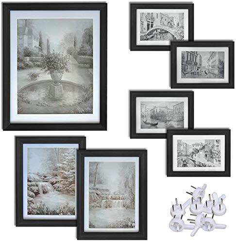 Fotolijsten Galerij Set van 7, één 8x10, twee 5x7, vier 4x6, wandmontage en tafelblad, zwart foto lijstje fotolijsten hart fotolijst fotolij (Size : Four 4x6)