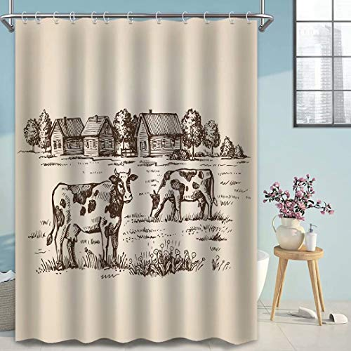 Rustic Shower Curtain for Farmhouse Bathroom Decor, Vintage Country Cow Bath Curtains Grey Fabric Waterproof Washable with Hooks, 72x72 Inches