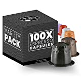100 Pack Nespresso Compatible Capsules - ESPRESSO ITALIA Variety Pack - Espresso Coffee Capsules for...