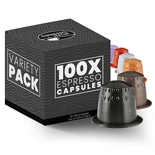 100 Pack Nespresso Compatible Capsules - ESPRESSO ITALIA Variety Pack - Espresso Coffee Capsules for Nespresso Machines Original. Italian Coffee. Ristretto Expresso Coffee Pods