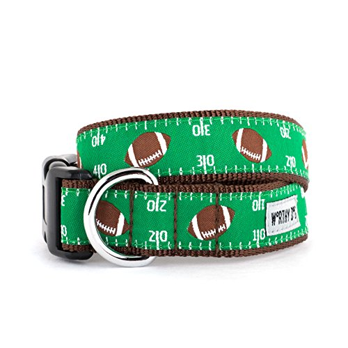 The Worthy Dog Football Field Sports Pattern Designer Adjustable and Comfortable Nylon Webbing, Side Release Buckle Collar for Dogs - Fits Small, Medium and Large Dogs, Green Color