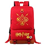 The Deathly Hallows College Notebook School Bag, Bolso de la Escuela estudiantil de Moda Unisex Harry Potter Casual Rucks Medio Rojo