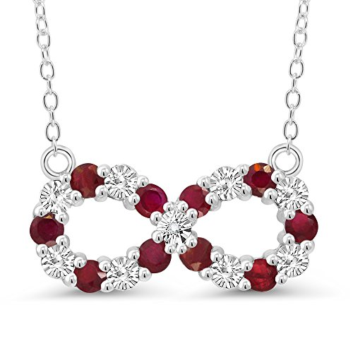 Gem Stone King 925 Silver Round Red Ruby and White Diamond Accent Infinity Pendant Necklace with 16 Inch Silver Chain
