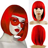 Short Bob Wigs With Straight Bangs 12Inch Short Synthetic Fiber Bob Wigs for Women Short Bob Wigs and Black Color Bob Wig With A Free Wig Cap (Red)