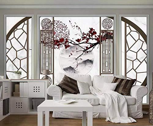 Wqavten 3D-behang, geluksverhitting, steenmotief, mozaïek, tv-achtergrond, woonkamer, slaapkamerwandschilderij van Chinese pruimenbloesemvogels 200 x 140 cm.
