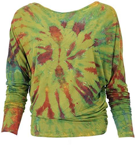Guru-Shop Batik Hippie Shirt, Damen, Grün, Synthetisch, Size:38, Pullover, Longsleeves & Sweatshirts Alternative Bekleidung