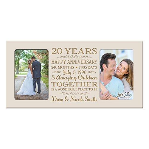 LifeSong Milestones Personalized Twenty Year her him Couple Custom Engraved Wedding Celebration for Husband Wife Girlfriend Boyfriend Photo Frame Holds Two 4x6 Photos (Ivory)