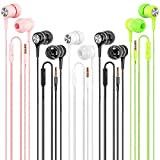 Earbuds Earphones Wired Headphones 5 Pack, Earbuds with Microphone Ear Buds Headphones Noise Canceling Wired Earphones Compatible with iPhone, Android Phones, iPod, iPad, MP3 Fits Most 3.5mm Jack