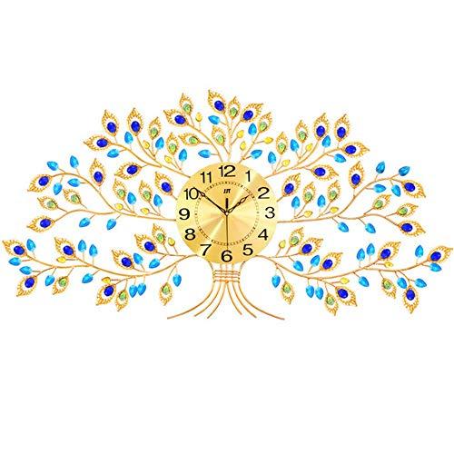 weiwei Reloj de Pared Moderno de Metal Estilo Pavo Real de Cristal con Movimiento silencioso Reloj Decorativo Grande de Esfera de Metal de 10'para Sala de Estar,Dormitorio,Espacio de Oficina.32''X1
