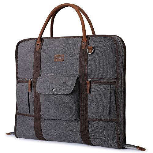 S-ZONE Herren Kleidersack Anzugtasche Canvas Echtleder Trim Kleidertasche für Reisen Kurzurlaub Geschäftsreisen Aufbewahrung