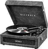 Victrola VSC-590BT-LGR Tocadiscos portátil Bluetooth (Piel de Cordero Gris)