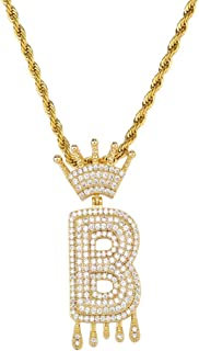 HECHUANG Initial Letter Necklace Simulated Diamond Iced out Crown Dripping Letter Initial Pendant Necklace for Women