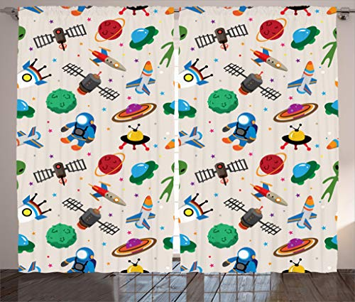 Ambesonne Outer Space Decor Collection, Space Cartoon Fantasy Adventure Universe Traveling Futuristic Child Artwork, Living Room Bedroom Curtain 2 Panels Set, 108 X 84 Inches, Green Red Grey Orange