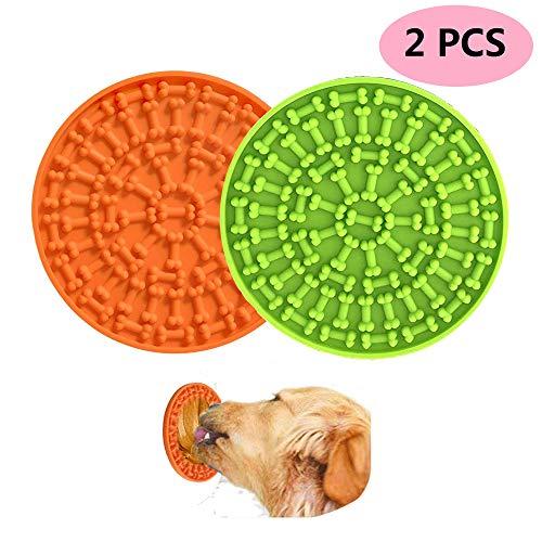 AWITHZ Hund Lecken Pad Silikon Leckmatte Slow Feeder Lick Pad Hundespielzeug Hund Katzen Bad Waschen Dusche Training Ablenkung Spielzeug Buddy Leckerli (Grün + Orange)