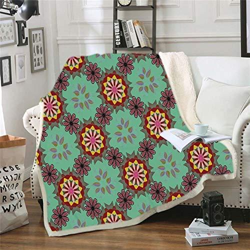 Manta Suave Geométrica Impreso Raya Manta del Tiro Colcha de Terciopelo Sherpa sofá de la Manta de Cama Azteca Decoraciones de Navidad for Home para sofá Cama (Color : Orange, Size : 150x200cm)