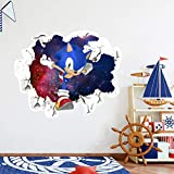Sonic The Hedgehog Cartoon 3D Broken Wall Game Wall Stickers Children's Bedroom Living Room Background Wall Stickers Removable PVC Home Decoration (JEX90041(38cm47cm))