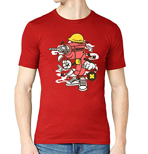 Cartoon Styled Drill Urban Construction T-shirt met ronde hals voor heren