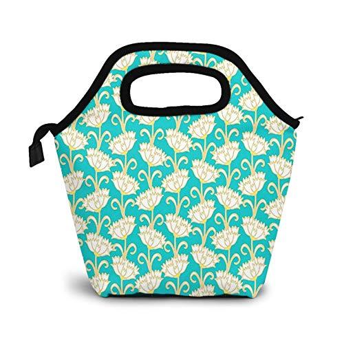 Bolsa Térmica Comida Bolsas De Almuerzo para Mujeres Hombres Niñas Niños Bolsa Isotérmica De Almuerzo Bonita Flor Crema