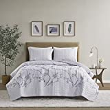 Comfort Spaces Reversible Quilt Set-Double Sided Vermicelli Stitching Design All Season, Lightweight, Coverlet Bedspread Bedding, Matching Shams, Full/Queen(90'x90'), Grey/Purple 3 Piece