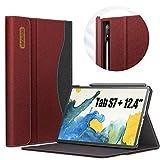 INFILAND Hülle für Samsung Galaxy Tab S7+/S7 Plus 12.4 (T970/T975/T976) 2020, Business Folio Ständer Hülle Schutzhülle Tasche, Auto Schlaf/Wach,Rotwein