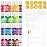 Buluri Pigmento de resina UV epoxi 24 Colores ,resina epoxi y UV altamente concentrado, joyería de resina para manualidades, Pintura fabricación de arte (10 ml cada una)