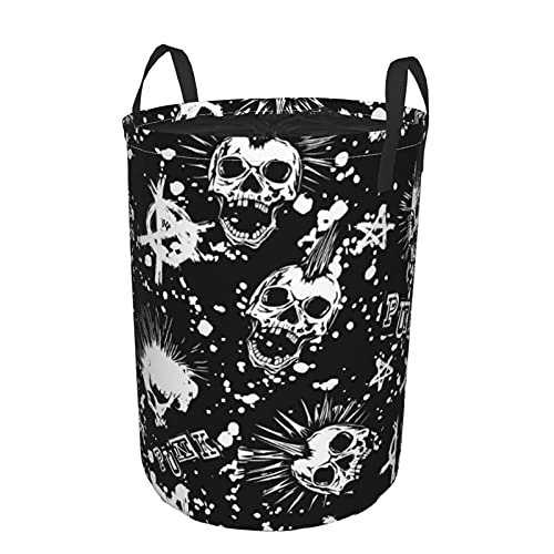 Cesto de lavandería redondo,calavera punk blanca abstracta con pelo mohawk y símbolo de la anarquía sobre fondo negro,cesto de lavandería plegable impermeable con cordón de19 X14