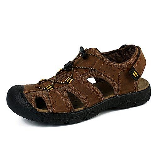 Sandalias Deportivas Verano Los Hombre, Senderismo Cuero Al Aire Libre Pescador Playa Zapatos Impermeables Playa Marrón Verde 38-48 Marrón 48