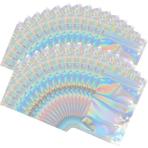 100 Pieces Mylar Holographic Resealable Bags - 4 x 6