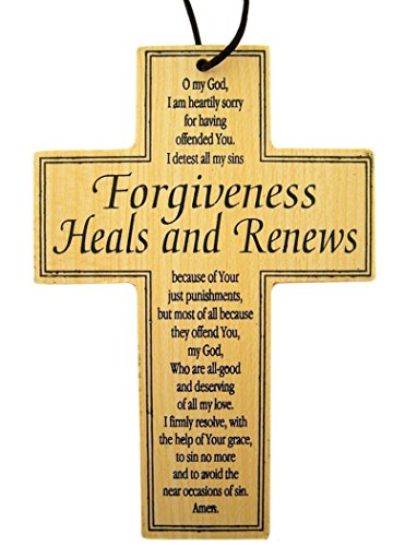 Religious Gifts Forgiveness Heals and Renews Wooden Inspirational Prayer Cross, 4 3/4 Inch