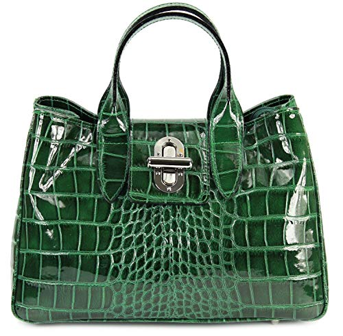 Belli Echt Leder Handtasche Damen Ledertasche Umhängetasche Henkeltasche in grün lack Kroko Prägung - 36x25x18 cm (B x H x T)