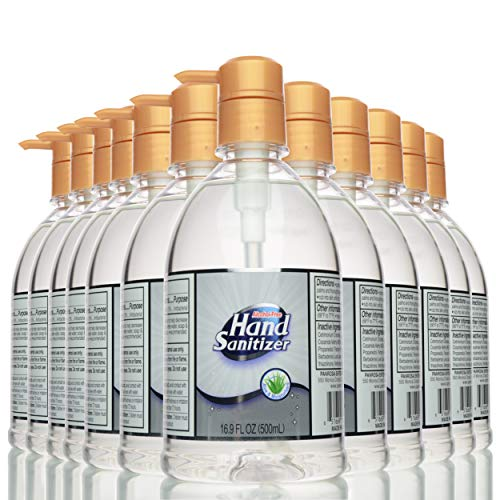 Hand Sanitizer ALCOHOL-FREE Gel for All Skin Types 16.9 Oz (500 mL)   Made in USA   Aloe Vera and Moisturizer for Soft Hands   202.8 Oz (pack of 12) with Pump
