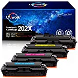 Uniwork Compatible Toner Cartridge Replacement for HP 202X 202A CF500X CF500A use with Laserjet Pro MFP M281fdw M281cdw M254dw M281 M281dw M280nw Toner Printer (Black, Cyan, Magenta, Yellow)