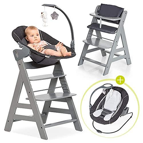 Hauck Alpha Plus Newborn Set Deluxe - Chaise Haute Bébé en Bois - Évolutive dès naissance - Inclus Transat pour nouveau-né, Coussin assise, Hauteur réglable - Gris