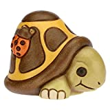 THUN - Soprammobile Tartaruga con Coccinella Portafortuna - Accessori per la Casa da Collezionare - Linea Home Sweet Home - Formato Piccolo - Ceramica - 7,3 x 6,1 x 5,3 h cm