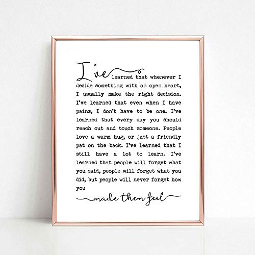 Maya Angelou Quote Print, Inspirational Motivational Print, Book Page Print, Famous Quote, Typography Art Print, Inspirational Wall Art, 8x10 inch No Frame