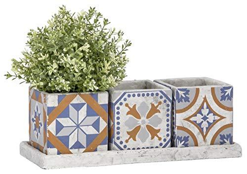 Rivanto® Port. Kacheln 3er Topfset auf Tray, aus Beton, 35,8 x 13,7 x 12,3 cm, quadratische Blumentöpfe, länglicher 3-TLG. Blumenkasten