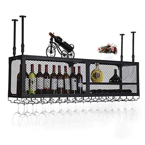 Stilvolle Einfachheit Weinregal Deckenweinregal/Höhenverstellbar Flaschenregal Metall Eisen Weinregal Weinregal Wandbehang, HJJ, 120 * 35 cm