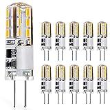 JAUHOFOGEI Bombilla LED G4, 12 V, 1 W, equivalente a bombilla halógena de 10 W, luz blanca cálida, no regulable, 10 unidades